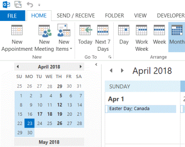 Outlook calendar screen image