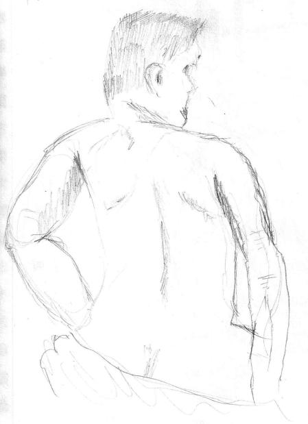 Sketch of person sitting, back view.